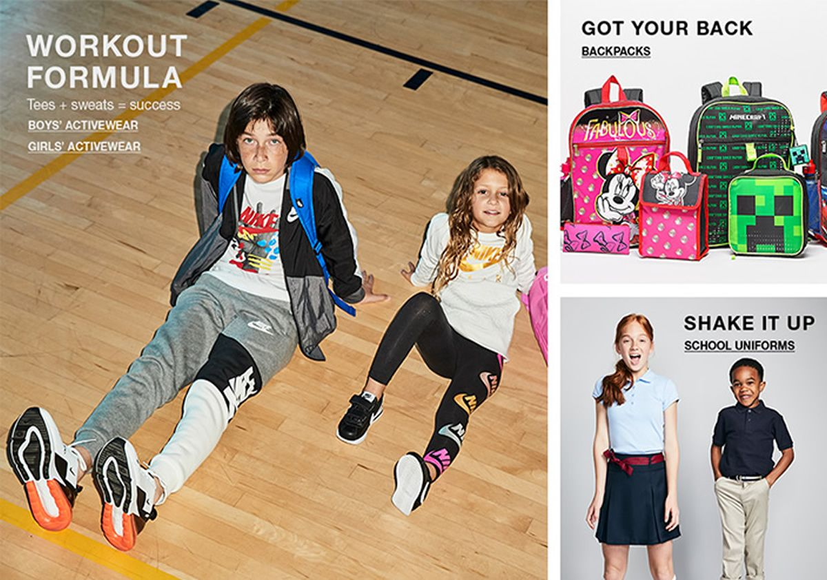 Workout Formula, Boys Activewear, Girls Activewear, Got Your Back, Backpacks, Shake it up, School Uniforms