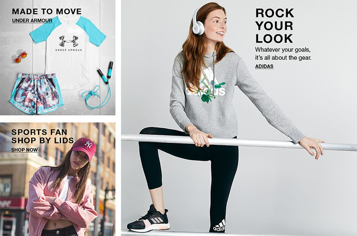 Made to Move, Under Armour, Sports Fan Shop by Lids, Shop Now, Rock Your Look, Whatever your goals, it's all about the gear, Adidas