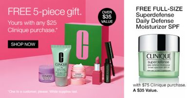 Free 5-piece gift, Your with any $25 Clinique purchase, Shop Now