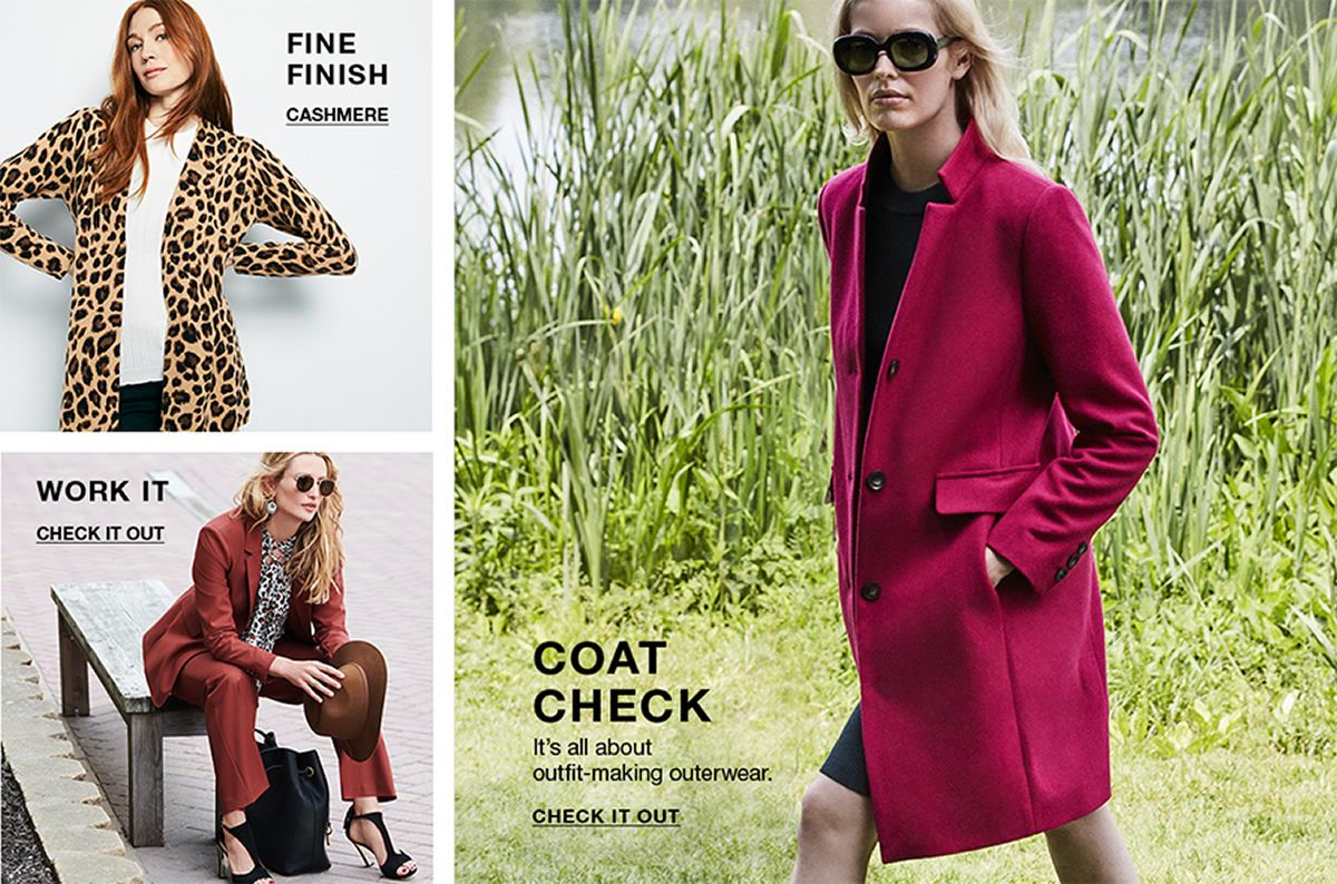 Fine Finish, Cashmere, Work It, Check it Out, Coat Check, It's all about outfit-making outerwear, Check it Out