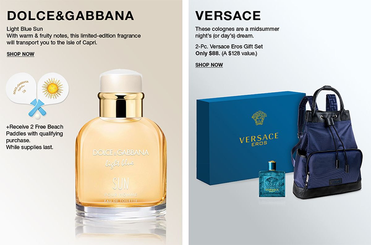 Dolce and Gabbana, Light Blue Sun, With warm and fruity notes, this limited-edition fragrance will transport you to the Isle of Capri, Shop Now, Versace, These colognes are a midsummer nights's (or day's) dream, Shop Now