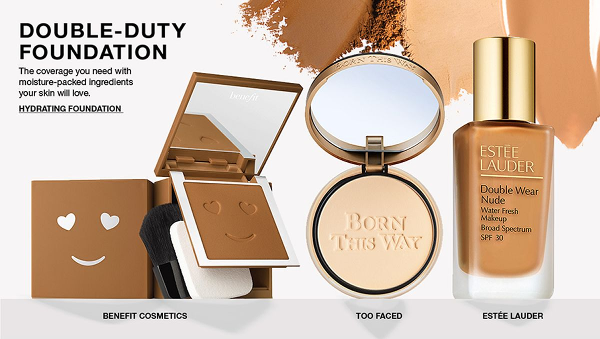 Double-Duty Foundation, The coverage you need with moisture-packed ingredients your skin will love, Hydrating Foundation, Benefit Cosmetics, Too Faced, Estee Lauder
