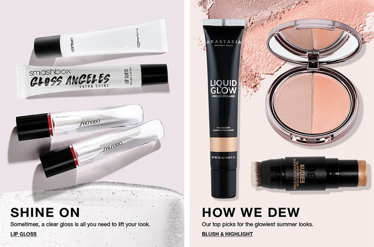 Shine on, Sometimes, a clear gloss is all you need to lift your look, Lip Gloss, How we Dew, Our top picks for the glowiest summer looks, Blush and Highlight