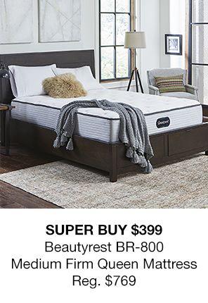 Super Buy $399 Beautyrest br-800, Medium Firm Queen matters Reg. $769