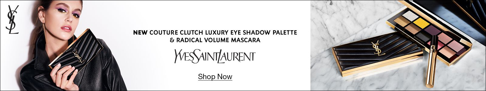 New Couture Clutch Luxury Eye Shadow Palette and Radical Volume Mascara, Yves Saint Laurent, Shop Now