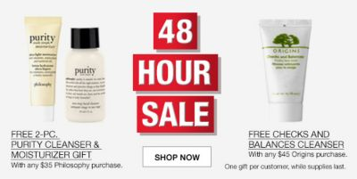 48 Pour Sale, Free 2-Piece Purity Cleanser and Moistutizer Gift, Free Checks and Balances Cleanser, with any $45 Origins purchase, One gift per customer while supplies last