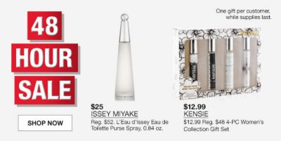 48 Hour Sale, Shop Now, $25 Issey Miyake, $12.99, Kensie