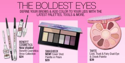 The Boldest Eyes, Define Your Brows and Add Color to Your Lids with The Latest Palwttes, Tools and More, Benefit Cosmetics, Smashbox, Tarte