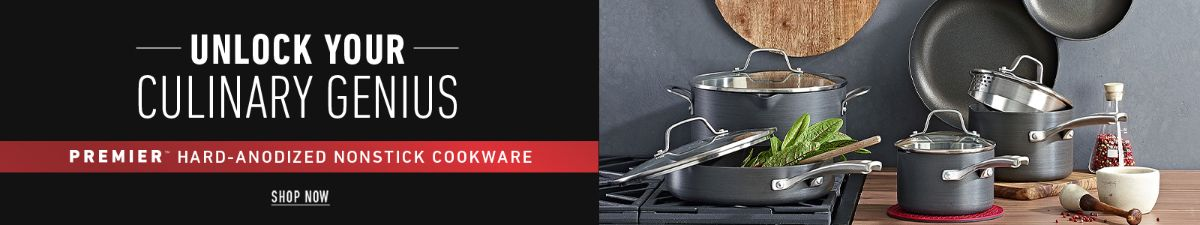 Unlock Your, Culinary Genius, Premier Hard-Anodized Nonstick Cookwear