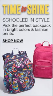 Time to Shine, Schooled in Style, Pick the perfect backpack in bright colors and fashion prints, Shop Now