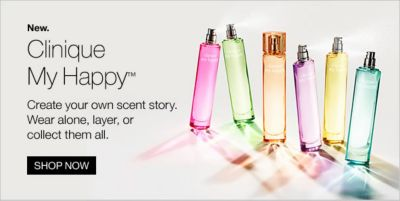 Clinique my Happy, Create your own scent story, Wear alone, layer, or collect them all, Shop Now