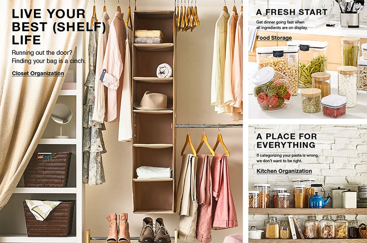 Live Your Best (Shelf) Life, Running out the door? Finding your bag is a cinch, Closet Organization, A Fresh Start, Food Storage, A Place For Everything, Kitchen Organization