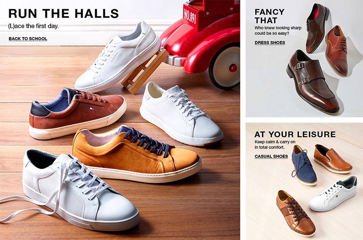 Run The Halls, (L)ace the first day, Back to School, Fancy That, who knew looking sharp could be so easy? Dress Shoes, At Your Leisure, Keep calm and carry on in total comfort, Casual Shoes