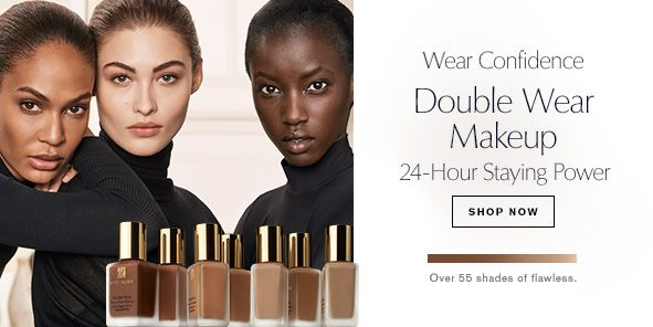 Wear Confidence, Double Wear Makeup, 24-Hour Staying Power, Shop Now, Over 55 shades of flawless