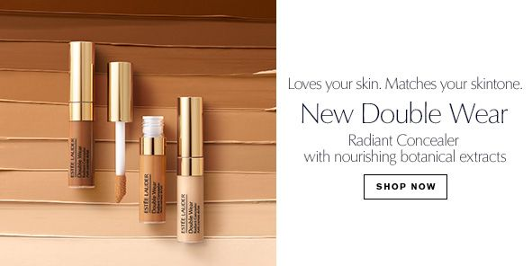 Loves your skin, Matches your skintone, New double Wear, Radiant Concealer with nourishing botanical extracts, Shop Now