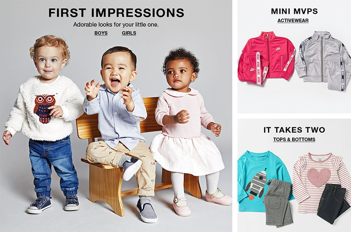 First Impressions, Adorable looks for your little one, Boys, Girls, Mini Mvps, Activewear, It Takes Two, Tops and Bottoms