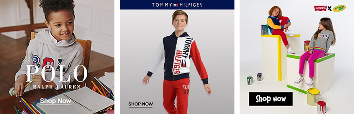 Polo Ralph Lauren, Shop Now, Tommy Hilfiger, Shop Now, Levis, Shop Now
