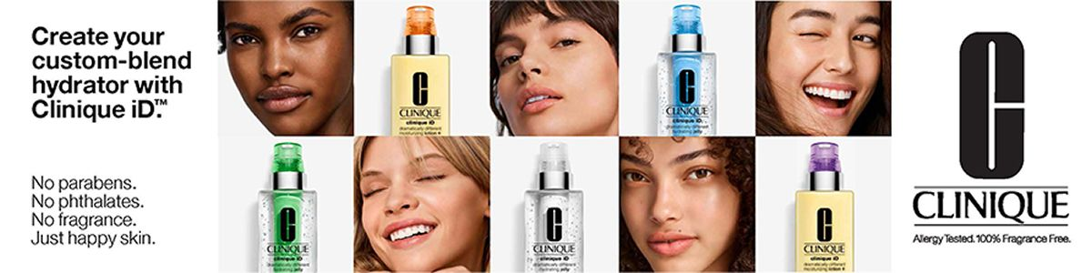 Create your custom-blend hydrator with Clinique iD, No parabens, No phthalates, No fragrance, Just happy skin