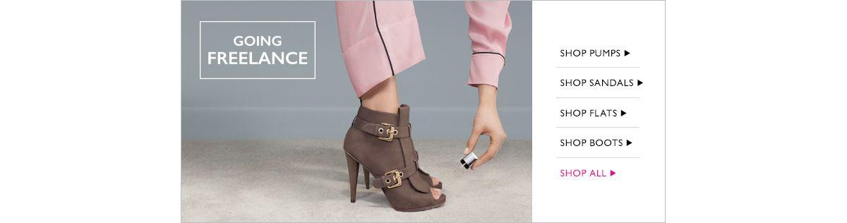 Going Freelance, Shop Pumps, Shop Sandals, Shop Flats, Shop Boots, Shop all