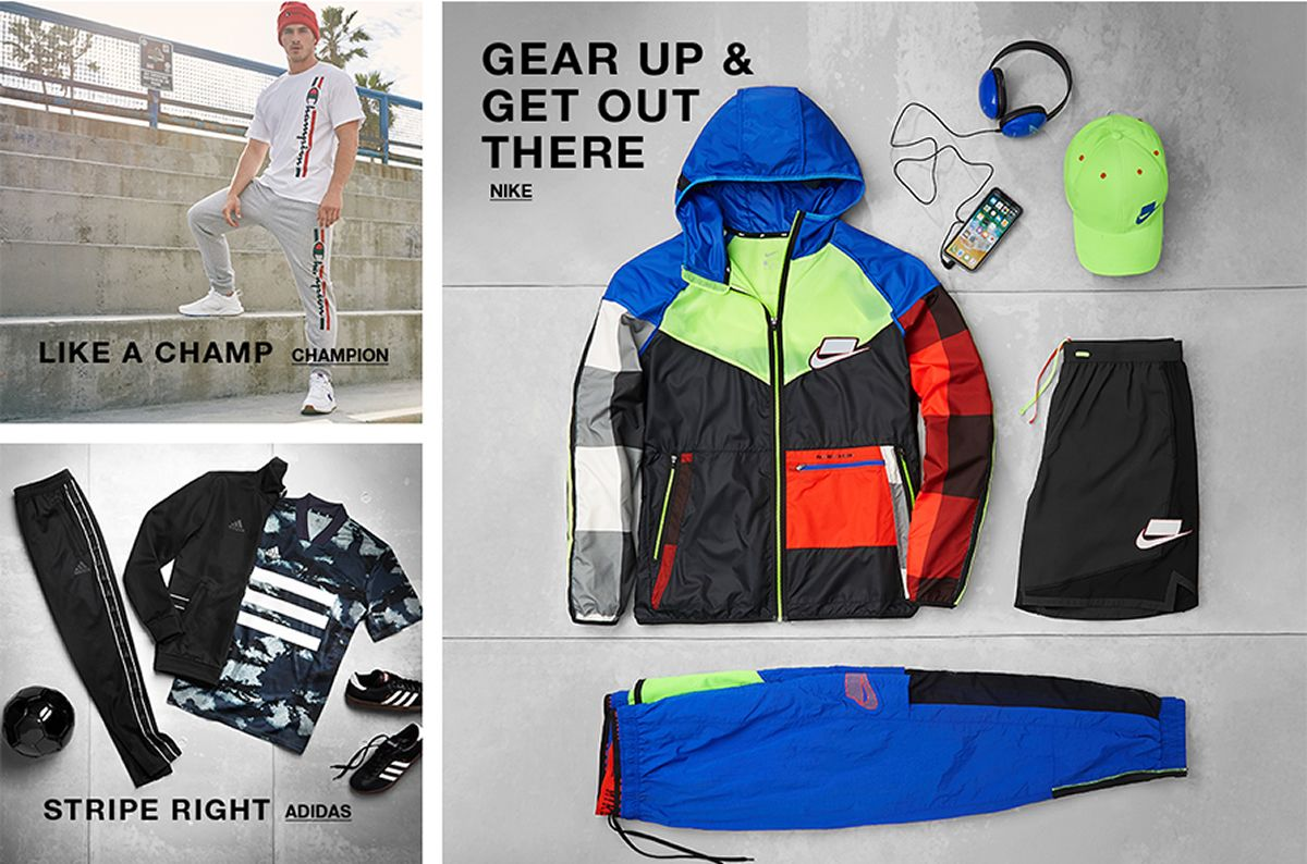 Like a Champ, Champion, Gear up and Get Out There, Nike, Stripe Right, Adidas