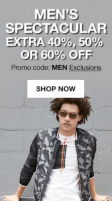 Men's Spectacular Extra 40 percent, 50 percent or 60 percent off, Promo coce: MEN Exclusions, Shop Now