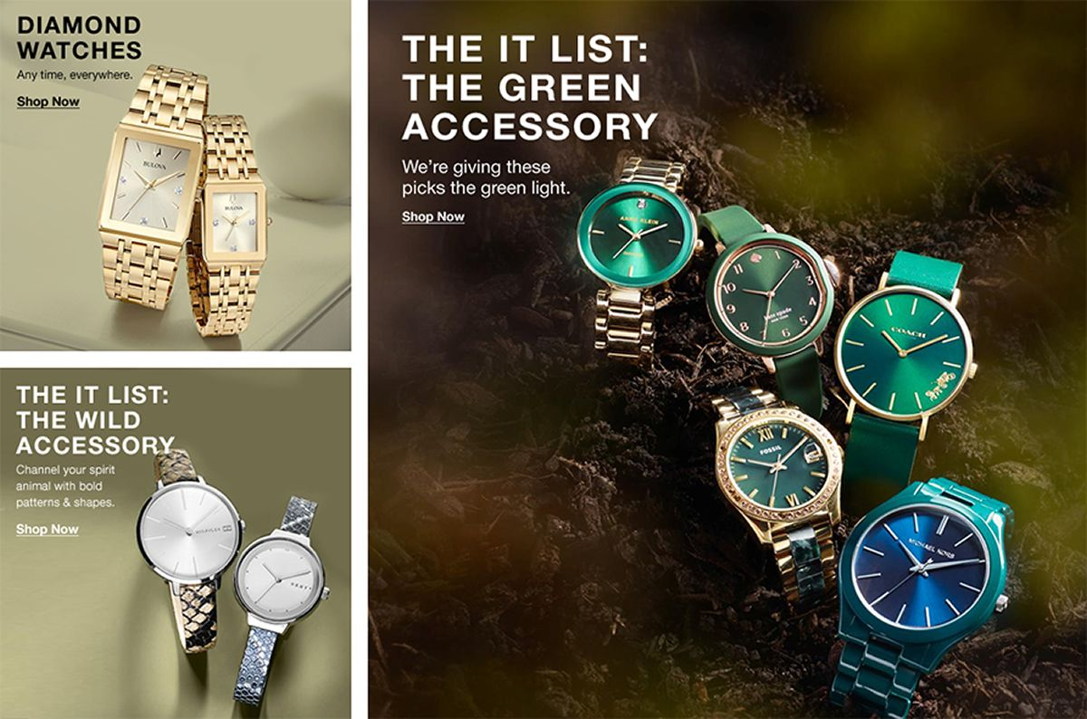 The it List: The Green Accessory, Shop Now, Diamond Watches, Shop Now, The it List: The Wild Accessory, Shop Now