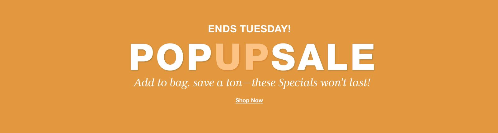 Ends Tuesday! Popup Sale, Add to bag, save a ton-these Specials won't last! Shop Now