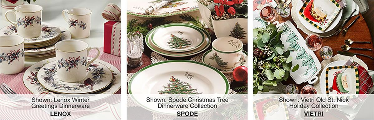 shown lenox winter greetings dinnerware lenox shown spode christmas tree dinnerware collection - Macys Christmas Decorations