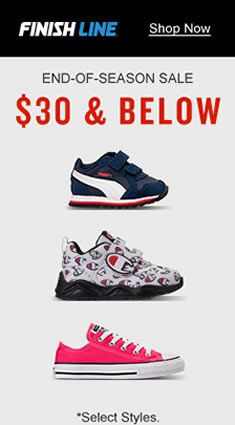 Finishline, Shop Now, End-of-Season Sale, $30 and Below, Select Styles