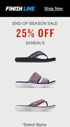 Finishline, Shop Now, End-of-Season Sale, 25 percent off,  Sandals, Select Styles