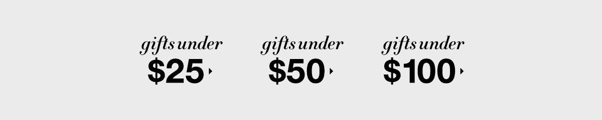 Gifts Under $25, Gifts Under $50, Gifts Under $100