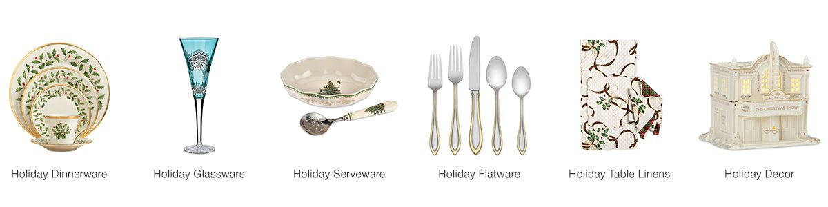 Holiday Dinnerware, Holiday Glassware, Holiday Serveware, Holiday Flatware, Holiday Table Linens, Holiday Decor