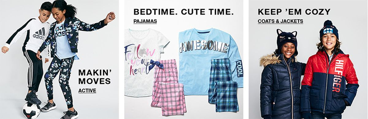 Makin' Moves, Active, Bedtime, Cute Time, Pajamas, Keep 'em Cozy, Coats and Jackets