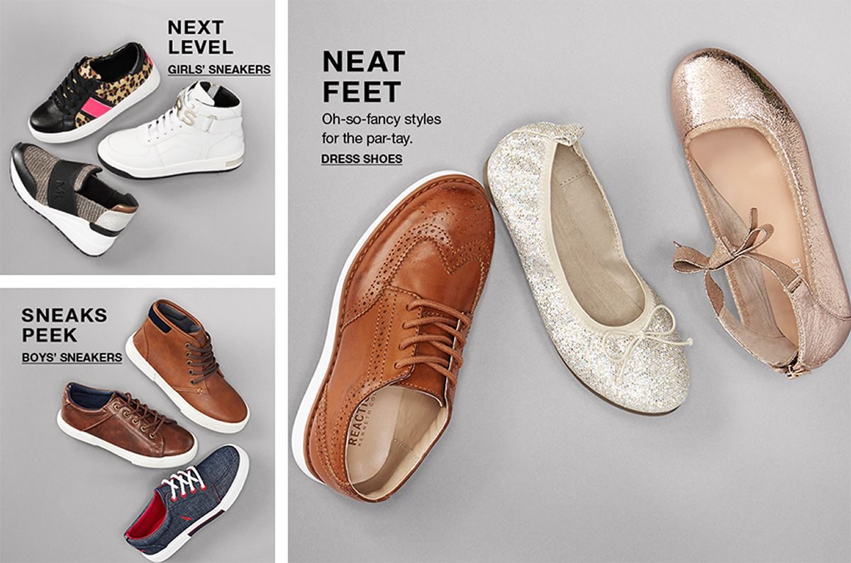 Next Level, Girls' Sneakers, Sneaks Peek Boys' Sneakers, Neat Feet, oh-so-fancy styles for the par-tay, Dress Shoes