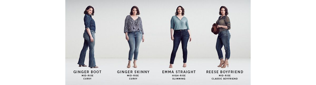Ginger Boot Mid-Rise Curvy, Ginger Skinny Mid-Rise Curvy, Emma Straight High-Rise Slimming, Reese Boyfriend Mid-Rise Classic Boyfriend