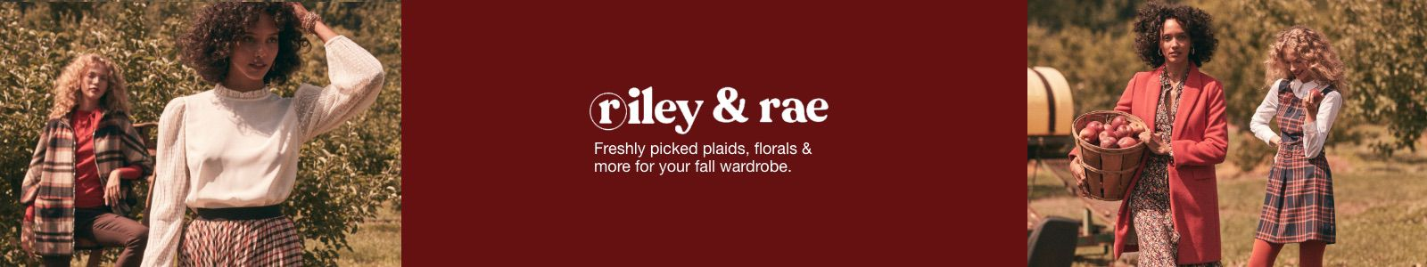 riley and rae, Freshly picked plaids, florals and more for your fall wardroble