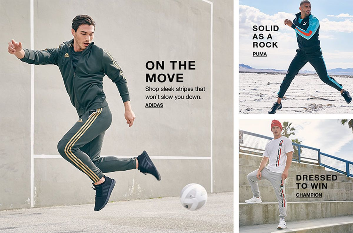 on The Move, Adidas, Solid as a Rock, Puma, Dressed to Win, Champion