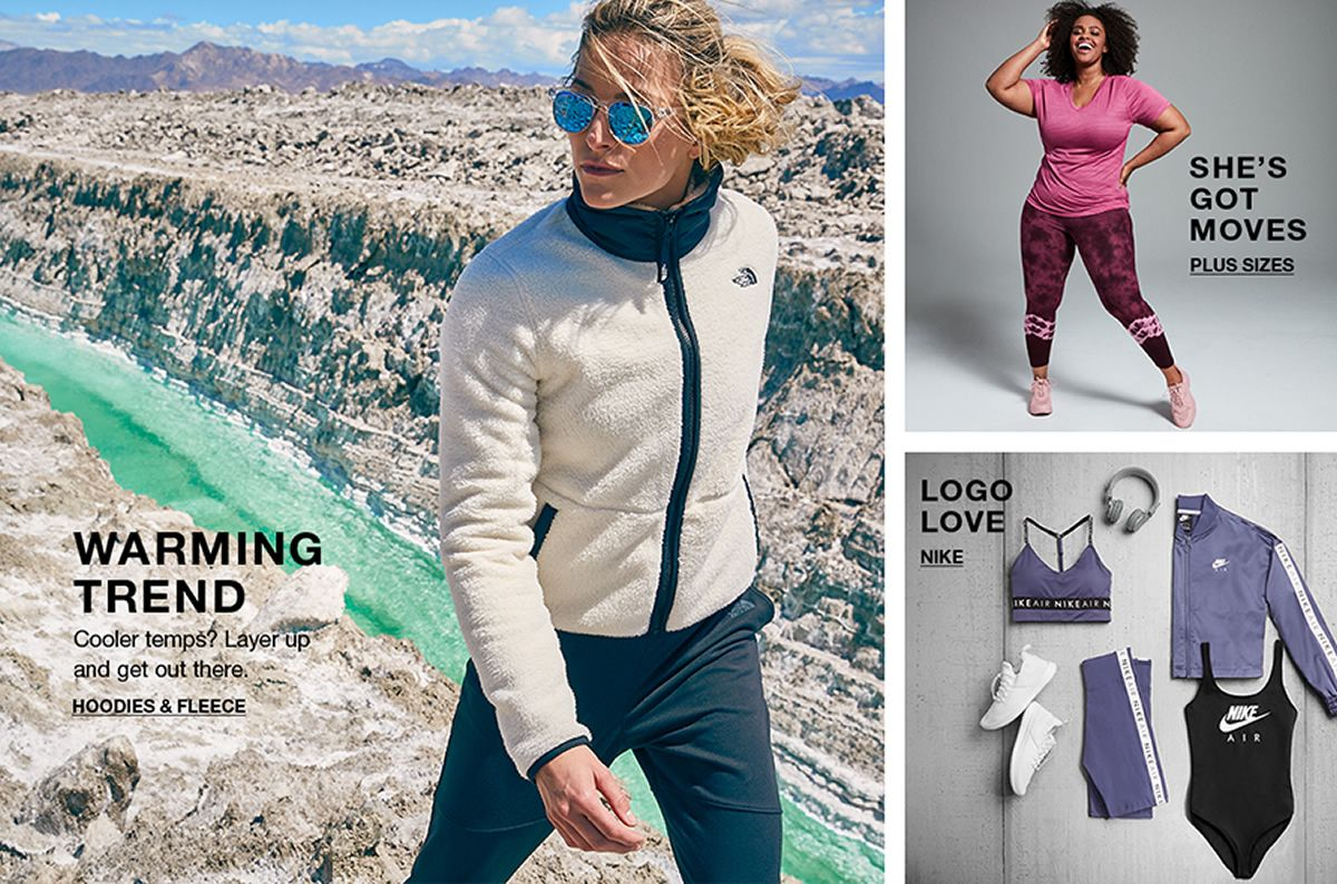 Warming Trend, Cooler temps? Layer up and get out there, Hoodies and Fleece, She's got Moves, Plus Sizes, Logo Love, Nike