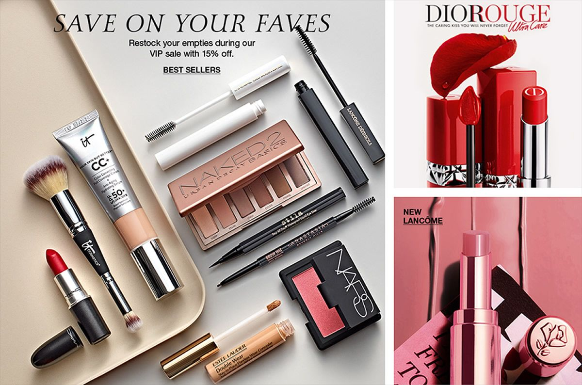 Save on Your Faves, Restock your empties during our VIP Sale with 15 percent off, Best Sellers, Diorouge, New Lancome