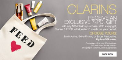 Clarins Receive an Exclusive 7-Piece, Gift, with any $75 Clarins purchase, Choose Yours, Up to a $69 value, Shop Now
