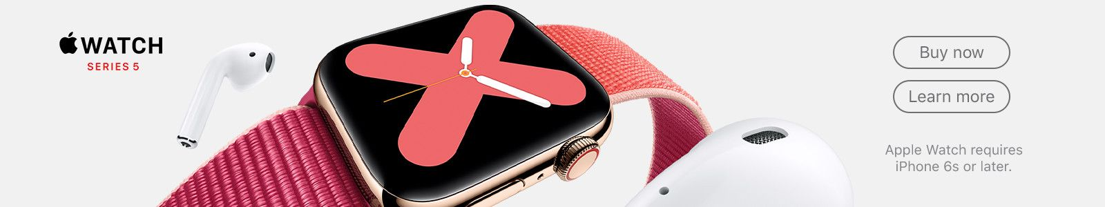 Apple Watch Series 5, Buy now, Learn more, Apple Watch requires ipone 6s or later