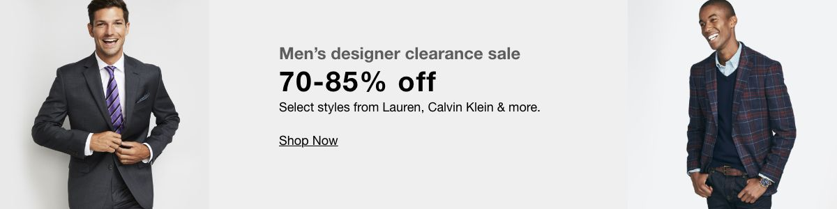 Men's designer clearance sale, 70-85% off, Select styles from Lauren, Calvin Klein and more