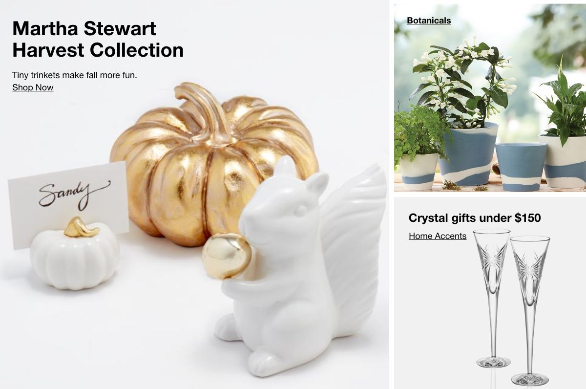 Martha Stewart Harvest Collection, Shop Now, Botanicals, Crystal gifts under $150, Home Accents