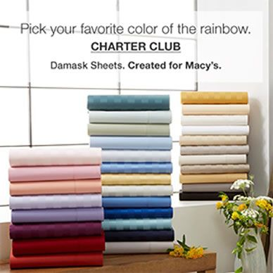 Pick your favorite color of the rainbow, Charter Club, Damask Sheets, Created for Macy's