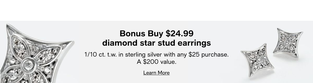 Bonus Buy $24.99 diamond star stud earrings, 1/10 ct.t.w, in sterling silver with any $25 purchase A $200 value