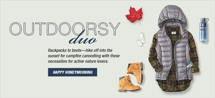Outdoorsy duo, Backpacks to boots-hike off into the sunset for campfire canoodling with these necessities for active nature lovers, Happy Honemooning