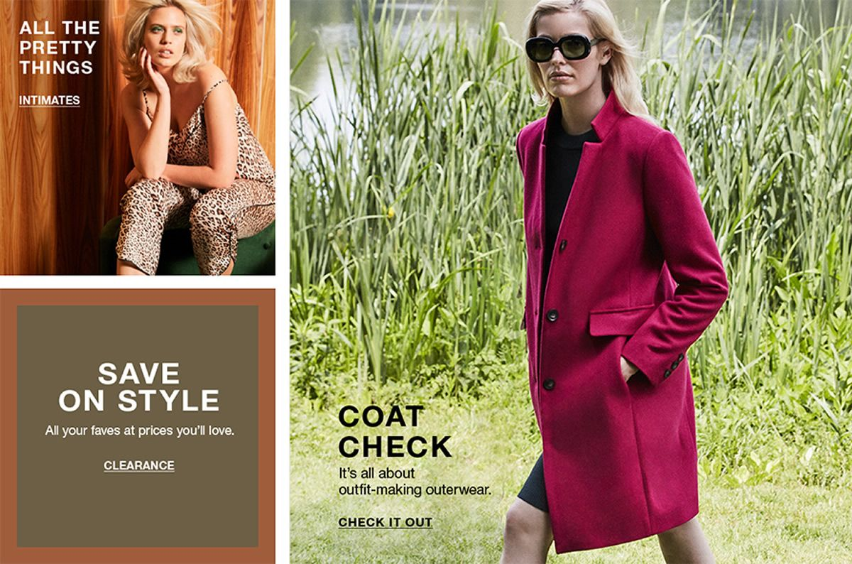 All The Pretty Things, Intimates, Save on Style, Clearance, Coat Check, Check it Out