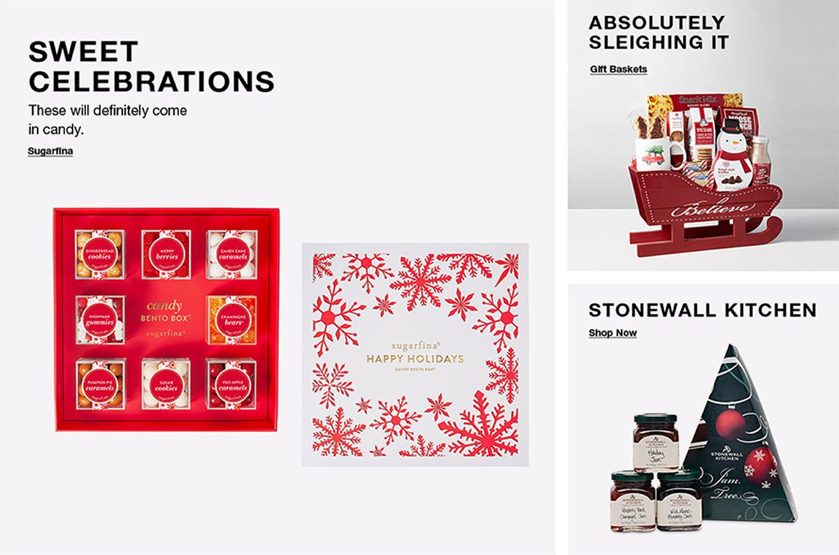 Sweet Celebrations, Sugarfina, Absolutely Sleighing it, Gift Baskets, Stonewall Kitchen, Shop Now