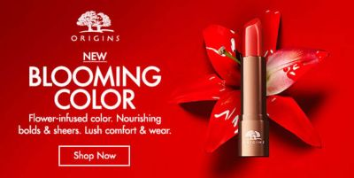Origins New Blooming Color, Flower-infused color, Nourishing bold and sheers, Lush comfort and wear, Shop Now