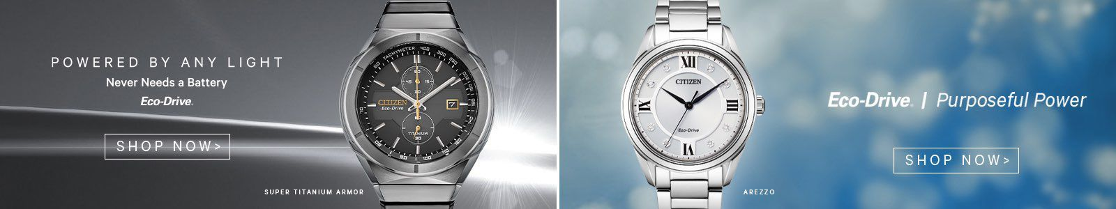 Powered by Any Light, Never Needs a Battery, Ec0-Drive, Shop Now, Eco-Drive I Purposeful Power, Shop Now